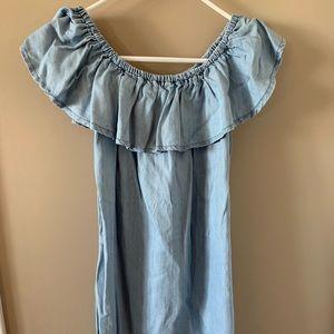 Denim off the shoulder dress!